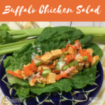 Our Buffalo Chicken Salad recipe on a bed of lettuce served on a blue platter