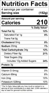 Chocolate Camo Pudding Nutrition Facts Serving size (152g) servings per container 4 Amount per serving Calories 210 % Daily Value Total Fat 9 g 12 % Saturated Fat 1 g 5 % Trans Fat 0 g Cholesterol 0 mg 0 % Sodium 20 mg 1 % Total Carbohydrate 34 g 12 % Dietary Fiber 6 g 21 % Total Sugars 20 g Added Sugars 12 g 24 % Protein 3 g Vitamin D 0 mcg 0 % Calcium 69 mg 6 % Iron 2 mg 10 % Potassium 528 mg 10 %