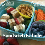 Sandwich kabobs in a travel lunch container with carrots, blueberries, and nuts for a balanced meal.