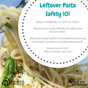 Leftover Pasta 101: Keep in refrigerator for only 3 to 4 days Planning your meals will help you utilize your leftovers better. Keep food at peak quality by immediately portioning into smaller containers to avoid bacteria growth Reheat food to 165 F When in doubt, toss it out