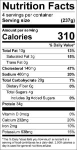 Chicken Parmesan Nutrition Facts Serving size (237g) servings per container 4 Amount per serving Calories 310 % Daily Value Total Fat 10 g 13 % Saturated Fat 3 g 15 % Trans Fat 0 g Cholesterol 140 mg 47 % Sodium 460 mg 20 % Total Carbohydrate 20 g 7 % Dietary Fiber 0 g 0 % Total Sugars 4 g Added Sugars 0 g 0 % Protein 34 g Vitamin D 0 mcg 0 % Calcium 232 mg 20 % Iron 2 mg 10 % Potassium 638 mg 15 %